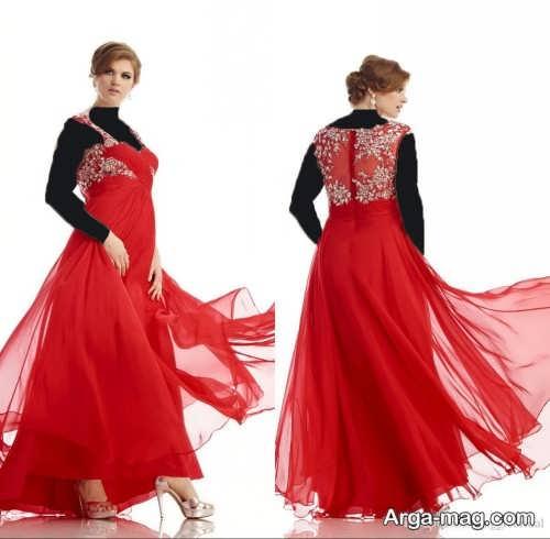 مدل لباس مجلسی قرمز برای خانم های چاق