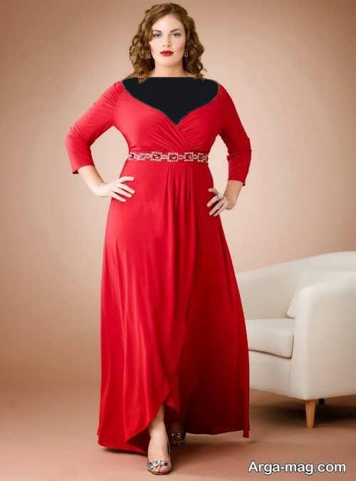 مدل لباس مجلسی بلند برای افراد چاق با رنگ قرمز