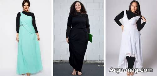 مدل پیراهن مجلسی مشکی برای خانم های چاق