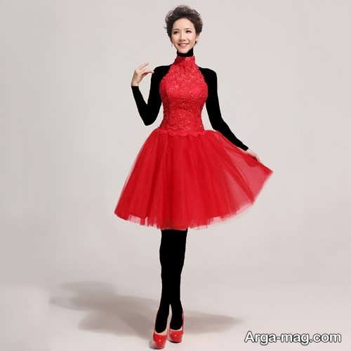 مدل لباس مجلسی عروسکی قرمز دخترانه