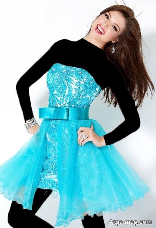 مدل لباس مجلسی عروسکی آبی