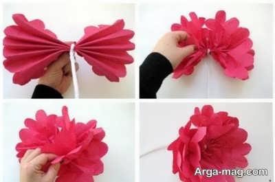 آموزش ساختن گل با دستمال کاغذی