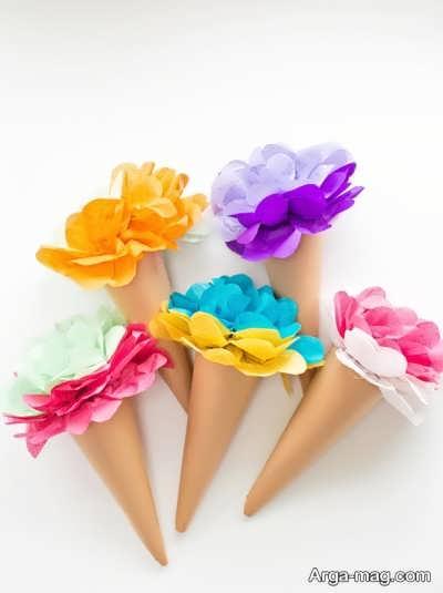 طرز ساخت گل با دستمال کاغذی