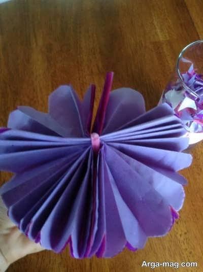 ساختن گل با کمک دستمال کاغذی