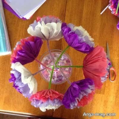 ساختن گل با دستمال کاغذی