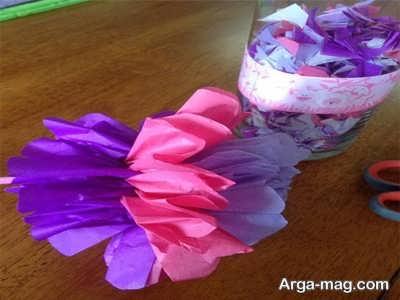 مراحل ساخت گل های رنگی