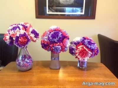 ساخت گل با کمک دستمال کاغذی به صورت مرحله به مرحله