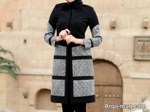 مدل مانتو خاکستری و مشکی برای خانم های قد کوتاه