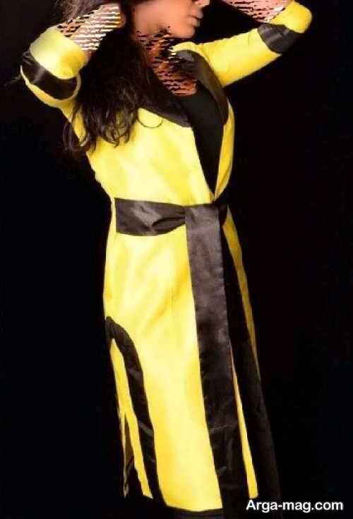 مدل مانتو زرد و قهوه ای ساتن
