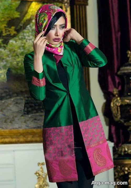 مدل مانتو ساتن مجلسی دو رنگ و شیک