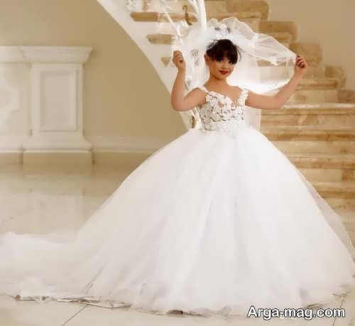 مدل لباس عروس دنباله دار بچه گانه