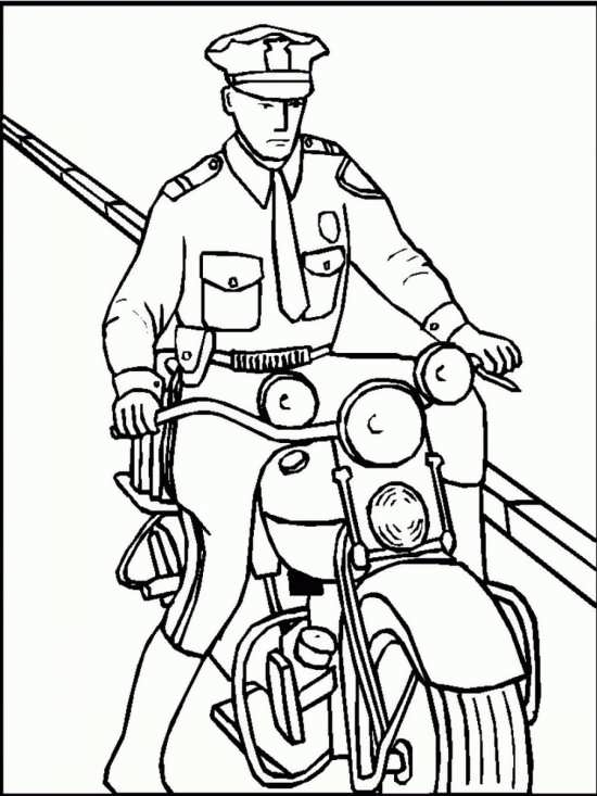 نقاشی پلیس موتور سوار