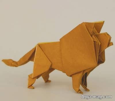 خلاقیت ساخت شیر با اوریگامی