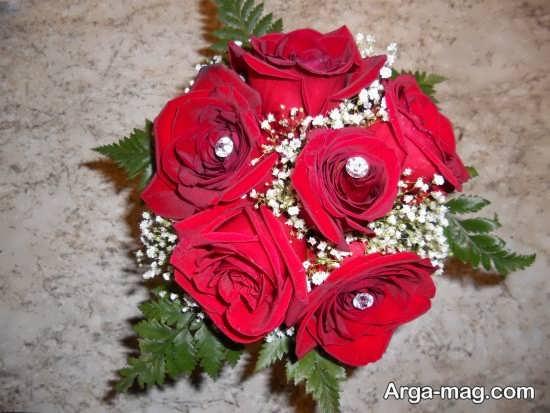 مدل دسته گل زیبا رز قرمز برای عروس