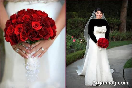 مدل دسته گل عروس رز قرمز شیک و ساده