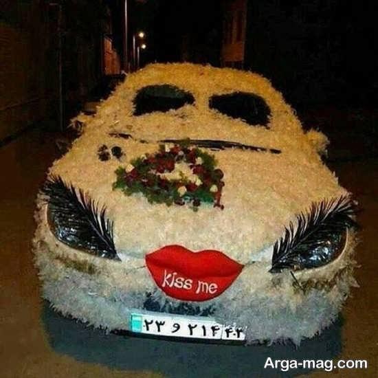تزیین ماشین عروس 206 با گل و پر