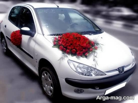 تزیین ماشین 206 برای عروسی با گل