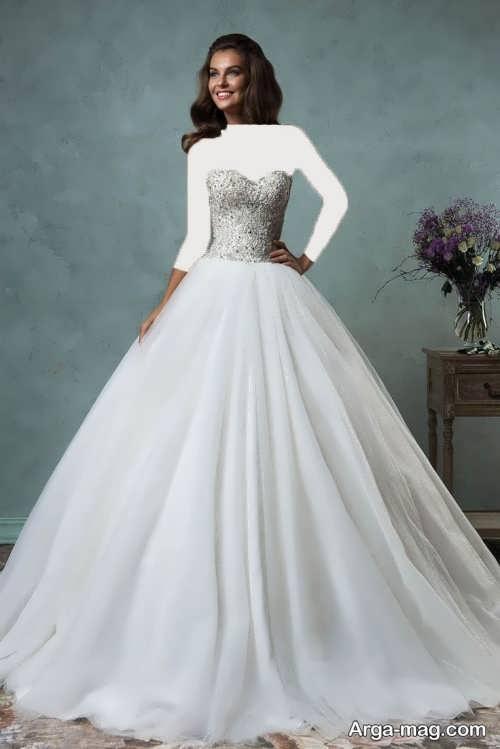 لباس عروس کار شده و دکلته
