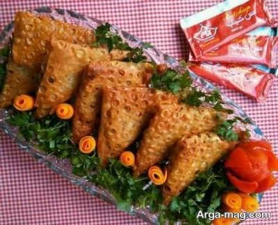 تزیینات سمبوسه با سبزیجات