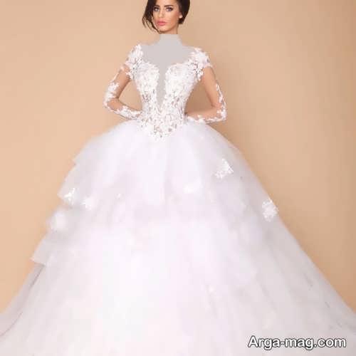 مدل لباس عروس پفی کار شده با دانتل