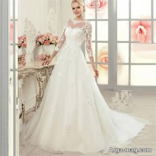 مدل لباس عروس آستین دار و پوشیده