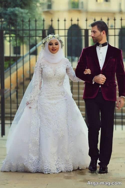 مدل لباس عروس دانتل پوشیده