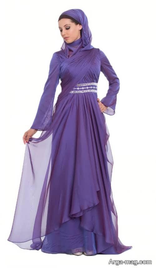 مدل لباس مجلسی بلند با پارچه حریر ساده و شیک