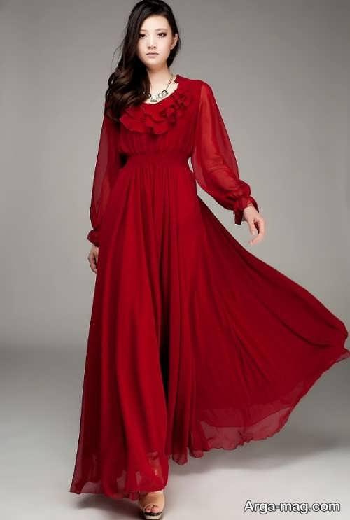 مدل لباس مجلسی قرمز حریر