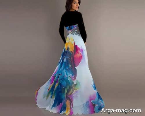 مدل لباس مجلسی بلند با پارچه حریر طرح دار و جدید