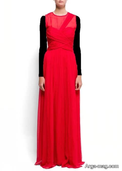 مدل لباس مجلسی حریر قرمز