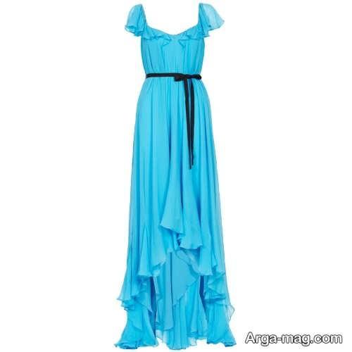 مدل لباس مجلسی بلند با پارچه حریر ساده