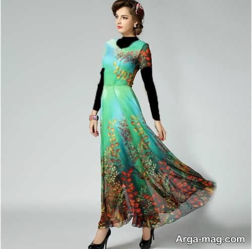 مدل لباس مجلسی حریر گلدار