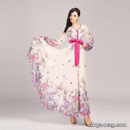 مدل لباس مجلسی بلند با پارچه حریر گلدار