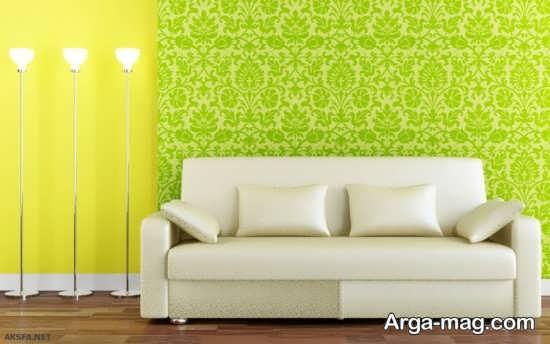 کاغذ دیواری سبز طرح دار