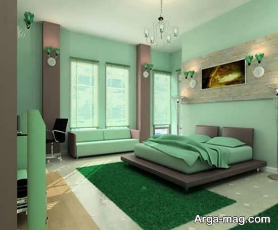 اتاق خواب با دکوراسیون سبز