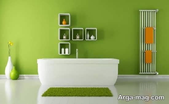 طراحی وان حمام با رنگ سبز