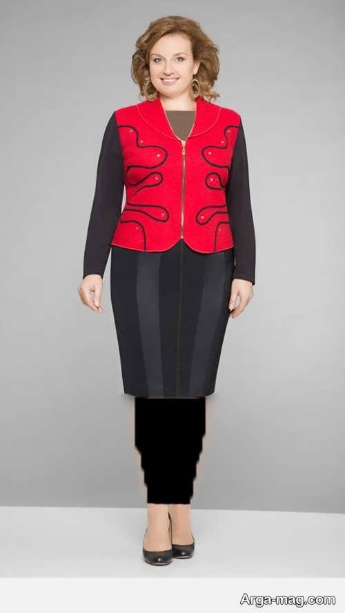 مدل کت و دامن مشکی و قرمز سایز بزرگ