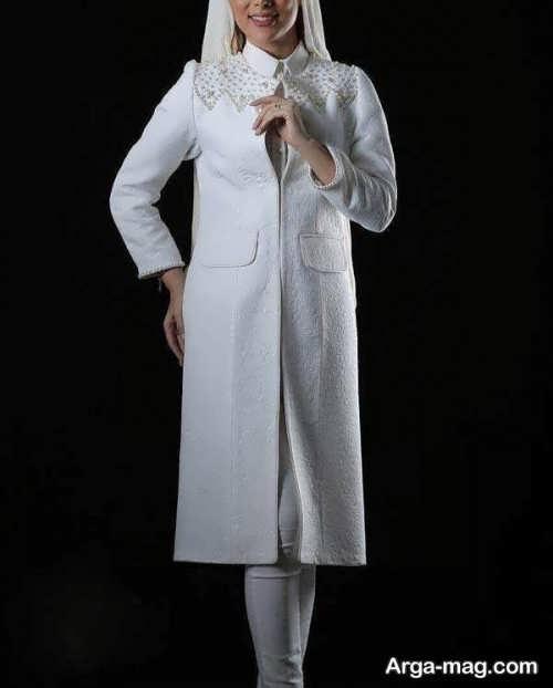 مدل مانتو سفید و بلند