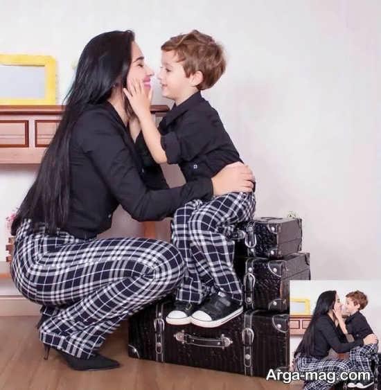 عکس زیبا از ست لباس مادر و پسر