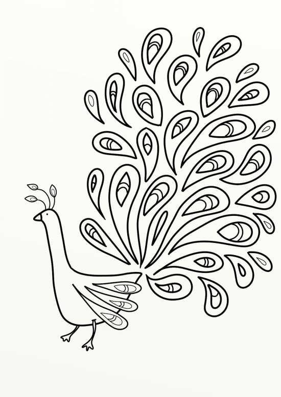 نقاشی کودکانه و زیبا طاووس