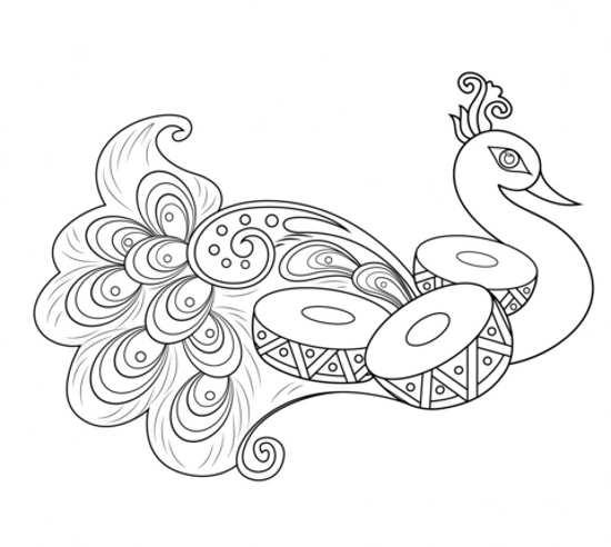 نقاشی کودکانه و جذاب طاووس