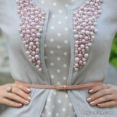 وسایل تزیینی با مروارید مدل مروارید دوزی روی لباس مجلسی بسیار شیک و جذاب