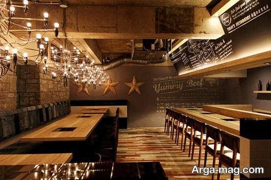 معماری داخلی رستوران چوبی