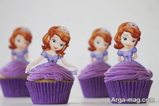 تزیین کاپ کیک با تم تولد سوفیا