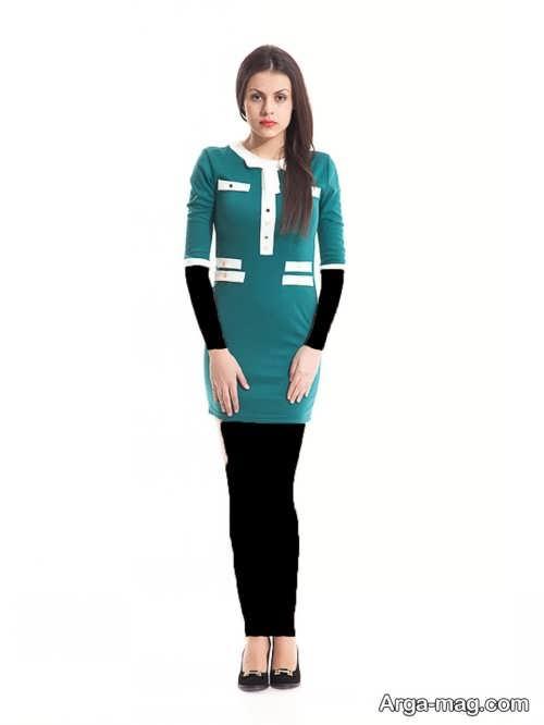 مدل لباس مجلسی پوشیده کوتاه سفید و سبز