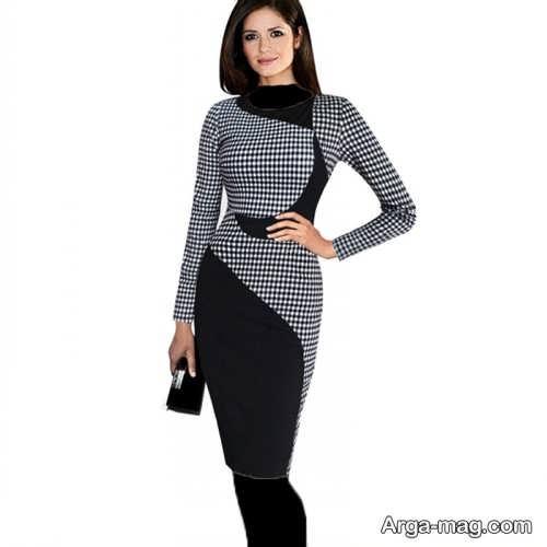 مدل لباس مجلسی طرح دار و پوشیده