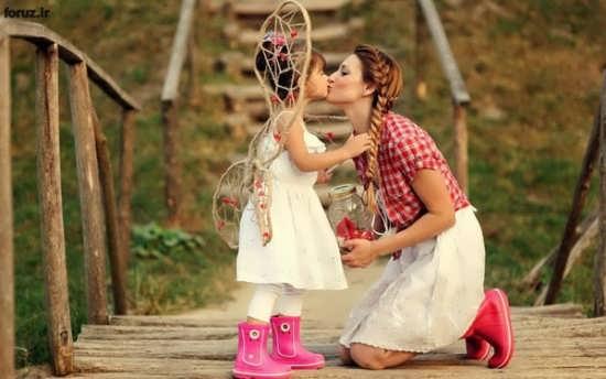عکس عاشقانه مادر و دختر