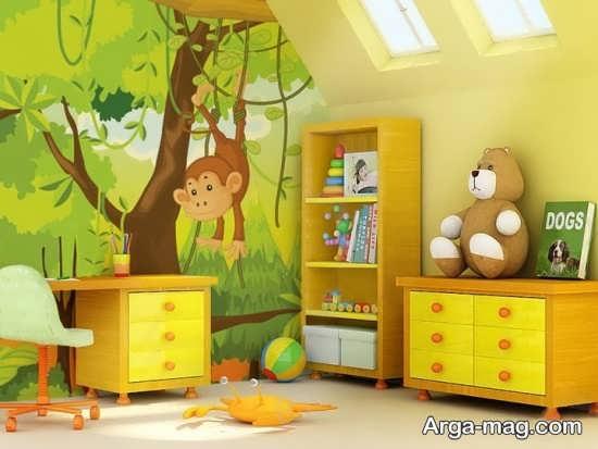 طراحی جذاب دیواری برای اتاق کودکان
