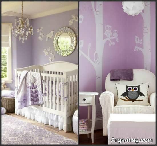 استفاده از دو رنگ سفید و بنفش در تزیین اتاق خواب نوزاد دختر