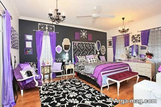 دکوراسیون بنفش اتاق دخترانه